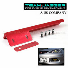 PREDRILLED JDM LOOK LEFT RIGHT FRONT LICENSE PLATE RELOCATOR BUMPER GRILLE RED