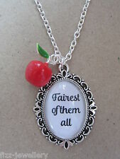 Snow White Fairest of them All Glass Pendant Enamel 3D Apple Charm Necklace New
