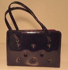 Vintage 1960s chic noires cloutées en simili cuir verni sac à main