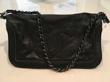 Black Chanel Lamb Skin Sac Pochette Handbag