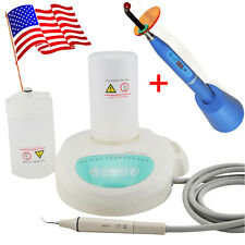 USA Dental Piezo Ultrasonic Scaler Scaling Handpiece Tips 2 Bottles Curing Light