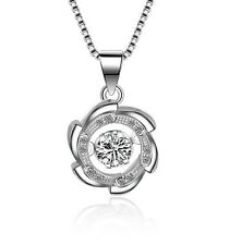 Dancing Love Cubic Zirconia CZ Sterling Silver Halo Pendant Necklace Gift Box A8