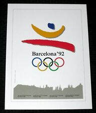 """1992 BARCELONA SPAIN SUMMER OLYMPICS GAMES *POSTER* NICE COND PRINT 12X16"""" 15814"""