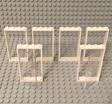 Lego 2 New Trans-clear Glass Door,4 Window Walls W/ White Frame 1x4x6 Parts Lot