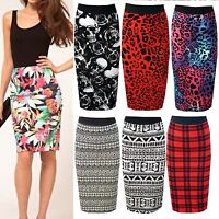 New Ladies Skull Rose Army Camo Tartan Polka Leopard Midi Pencil Skirt Plus Size