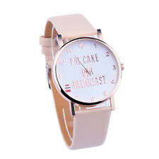 Fashion EAT CAKE FOR BREAKFAST Watches Women Dress Watches Leather watch