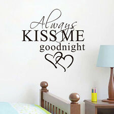 Always Kiss Me Goodnight Wall Sticker Quotes Removable Decal Bedroom Wall Decor