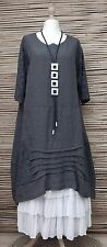 LAGENLOOK BEAUTIFUL STUNNING LINEN LACE A-LINE DRESS*CHARCOAL*BUST UP TO 48""