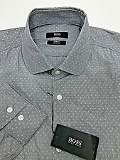 $244 HUGO BOSS Men SLIM-FIT GRAY LONG-SLEEVE DRESS CASUAL SHIRT SIZE 15.5 / 39