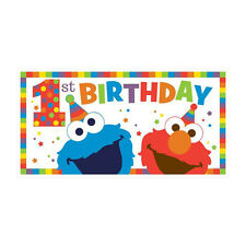 SESAME STREET Elmo Turns One JUMBO PLASTIC BANNER ~ Birthday Party Supplies