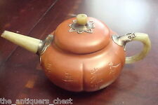 Chinese YiXing Zisha Teapot pewter with celadon jade handle and top, NIB[2ra]