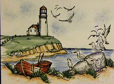 SEA GULLS FLYING U get photo#2 RETIREDL@@K@EXAMPLES Art impressions rubber stamp