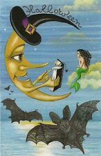 4X6 HALLOWEEN POSTCARD PRINT LE 7/27 RYTA VINTAGE STYLE ART WITCH MERMAID MOON