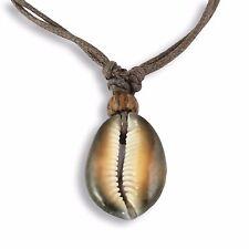 Schöne Halskette Anhänger 3cm Kauri Muschel inkl. Band braun N264