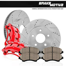 Front Red Brake Calipers Ceramic Pads Drilled Slotted Rotors Explorer Ranger