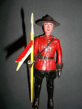 vintage RCMP PLASTIC TOY FIGURE WITH FLAG Royal Canadian Mounted Police FORCE