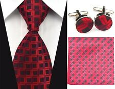 Red & Black 100% Pure Silk Neck Tie Cufflinks &Handkerchief Set Small Squares