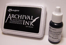 Ranger Archival Ink - Jet Black Stamp Pad and Reinker Acid Free Waterproof