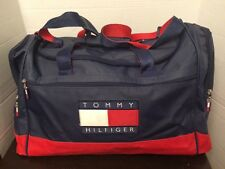 "Vintage Tommy Hilfiger Navy Blue and Red 22""x 12"" x 13"" Nylon Duffle Gym Bag #2"