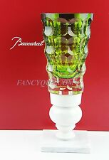 "BACCARAT KINGS OF THE FOREST CRYSTAL ON MARBLE VASE GREEN 13"" NEW BOX FRANCE"