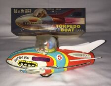 Vintage Friction Drive Tin Toy Torpedo Boat Rocket Car Space Ship W/Original Box