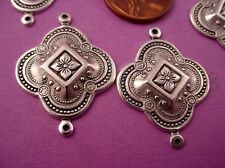 6 silver ox plate art nouveau medieval style charm connectors with loop 26mm