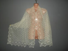 Stunning 100% alpaca lace shawl / scarf.  col. NATURAL UNDYED