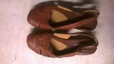 Naturalizer Natural Soul sling back shoe brown leather size 7M Rubber sole