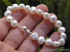 """9-11mm Baroque (7 1/4"""" 18cm) White Freshwater Pearl Bracelet  - 925 SOLID Silver"""