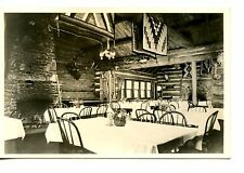 Lodge Dining Room Interior-Indian Design Rugs-RPPC-Vintage Real Photo Postcard