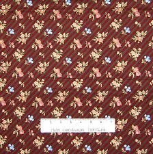 Floral Fabric - Brushed Cotton Flowers Red Brown Stripe - Telegraph Road YARD