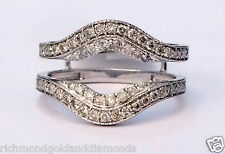 Solitaire Enhancer Vintage Milgrain 0.60 Diamonds Ring Guard Wrap 10k White Gold