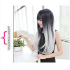 Sexy Womens Long Wavy Masquerade Party Hair Wig Black+White Straight Cosplay Wig