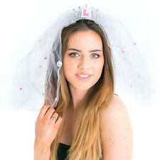 Pink & white Flashing Plate Comb Veil Bride to be hen night party Accessories