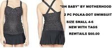 OH BABY BY MOTHERHOOD MATERNITY POKLA-DOT SWIMSUIT SIZE SMALL 4-6 NEW WITH TAGS