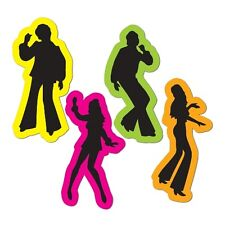 Pack of 4 Retro 70's Silhouette Decorations - Saturday Night Fever Disco Party