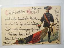 Prägekarte - Treudeutscher Gruss - 1902 - Student Fahne Schläger / Studentika