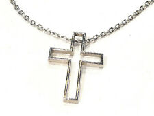 Bijou alliage argenté collier intemporel  Croix sur chaine  Maille Forçat
