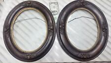 Antique Pair Of Wood & Gesso Oval Picture Frames For 9 ¾ X 7 ½ Picture~~~~~~~~~~