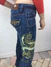 Authentic Antik Embroidered Gold  Dragon Women's Denim Jeans sz 5 Flare