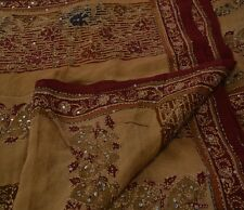 Vintage Indian Saree Pure Crepe Silk Hand Embroidered Fabric Kantha Ethnic Sari