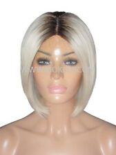 "Glueless Remy Human Hair Wig Front Lace 10"" Bob Platinum Blonde Brown Roots 3 60"