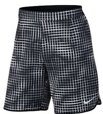 "NIKE 9"" COURT PRINTED GLADIATOR sz L MEN TENNIS SHORT Black/White 816056-010"