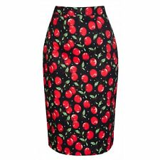 NEW VINTAGE 50'S STYLE LISA CHERRY PRINT PENCIL WIGGLE PARTY SKIRT SIZE 10