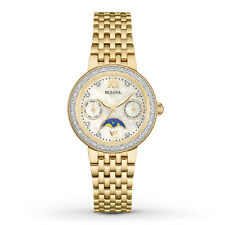 New Bulova 98R224 Diamond Dial/Bezel Moon Phase Gold Tone Stainless Ladies Watch