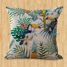 US SELLER- tropical plant hibiscus floral toucan cushion cover cheap white