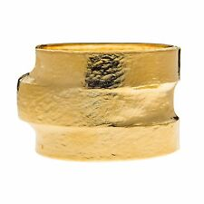 Kenneth Jay Lane Hammered polished gold 3 tiered hinged cuff 7914BPG