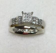 1/2 ct natural (REAL)  -DIAMOND ENGAGEMENT ring bridal set SOLID 14K white GOLD