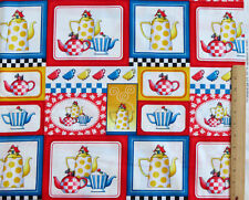 """TEA TIME TEAPOTS  MARY ENGELBREIT QUILTING TREASURES 100% COTTON FABRIC  35""""x 44"""