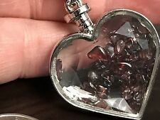 "Jeweled Heart W/Crimson Red Loose Stones Charm Tibetan Silver 18"" Necklace N27"